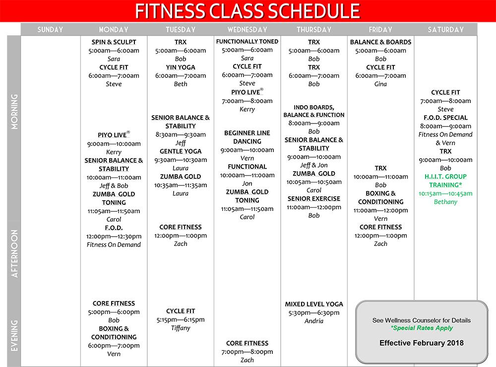 Group Fitness Class Schedule Effective Februray 2017