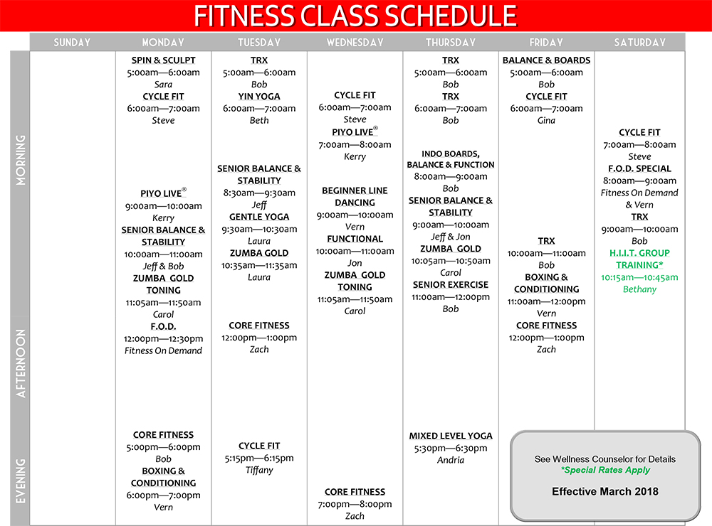 Group Fitness Class Schedule Effective March 2018