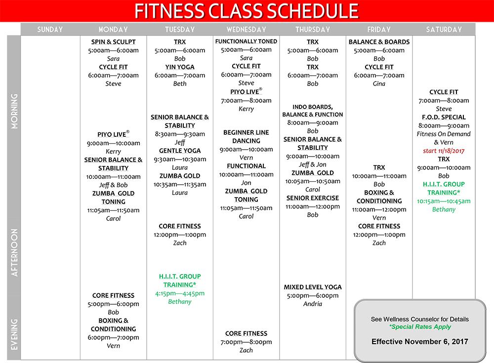 Group Fitness Class Schedule Effective November 2017