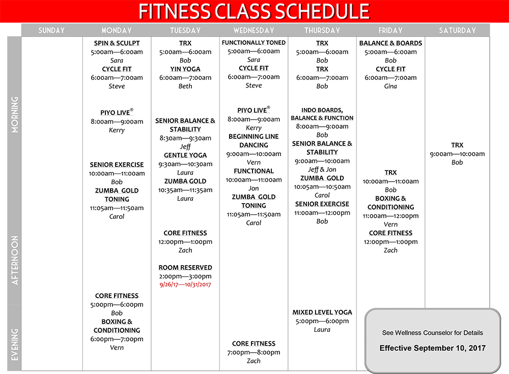 Group Fitness Class Schedule Effective September 2017