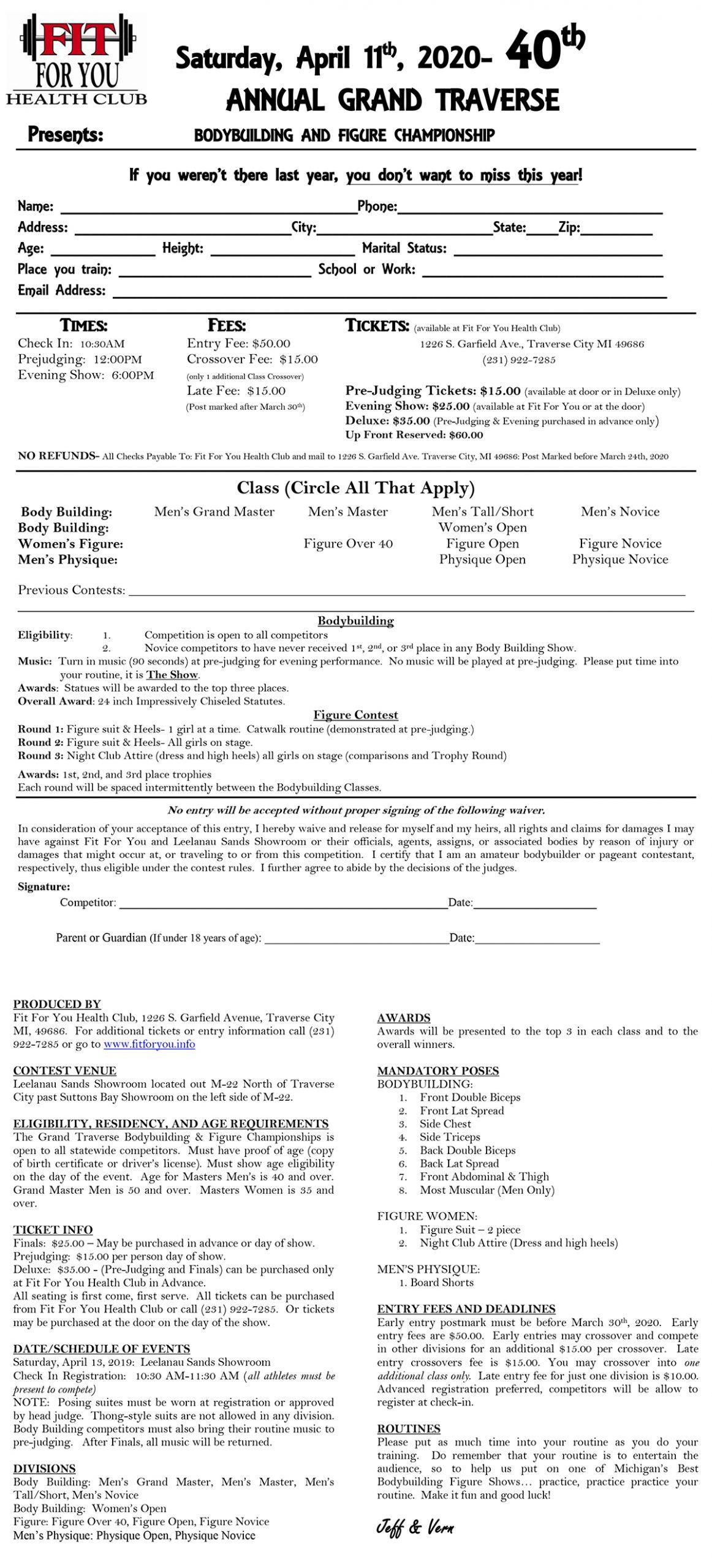 2020 Grand Traverse Bodybuilding & Figure Championship Registration Form