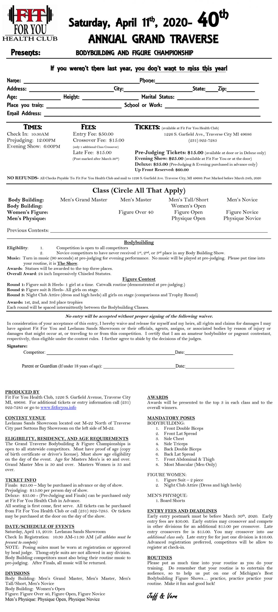 2020 Grand Traverse Bodybuilding & Figure Championship Registration Form