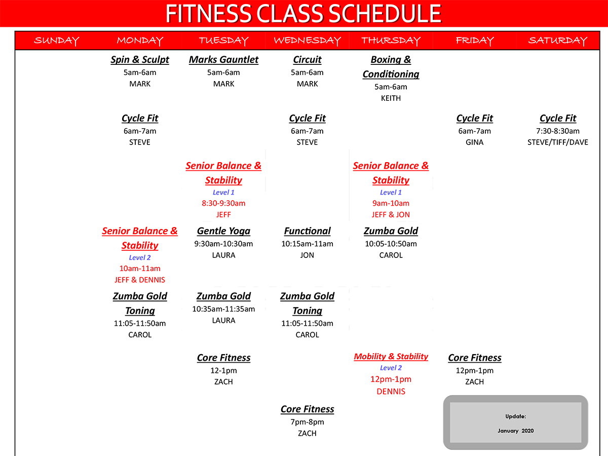 Fit For You Health Club Group Fitness Class Schedule